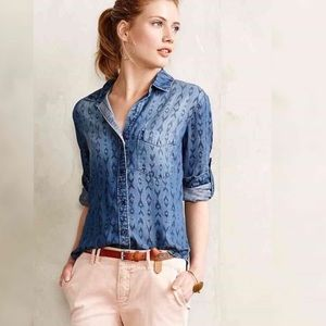 Anthropologie Cloth & Stone Printed Chambray Shirt